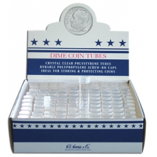 Dime Size - HE Harris Round Coin Tubes, Box of 100