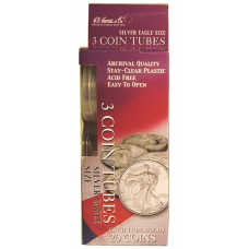 Silver Eagle Dollar - HE Harris Round Coin Tubes - Retail Pack 3