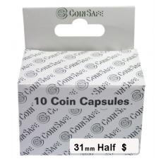 CoinSafe - 31mm Half Dollar Coin Capsule - 10ct