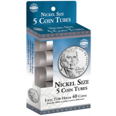 Nickel Size - HE Harris Round Coin Tubes - Retail Pack of 5