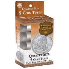 Quarter Size - HE Harris Round Coin Tubes - Retail Pack of 5